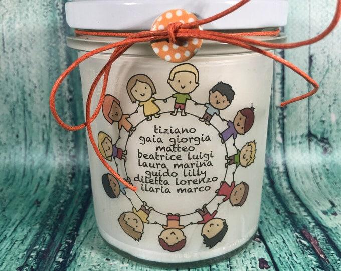 Candela regalo per la Maestra da parte della classe con i nomi degli alunni regalo fine anno scolastico ritorno a scuola regalo di natale