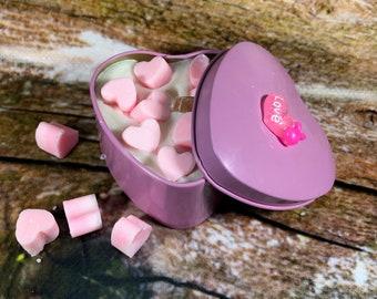 Candela in vasetto a forma di cuore cera di soia oli essenziali stoppino legno Anniversario Fidanzamento San Valentino Proposta matrimonio