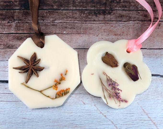 Profumatore naturale per armadi e cassetti in cera di soia e oli essenziali 70 profumazioni a scelta decorate fiori frutta spezie essiccate