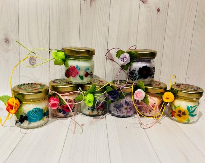 50 mini candele segnaposto motivo floreale personalizzati Matrimoni Comunioni Battesimi Compleanni Anniversari Nozze Country Boho Shabby