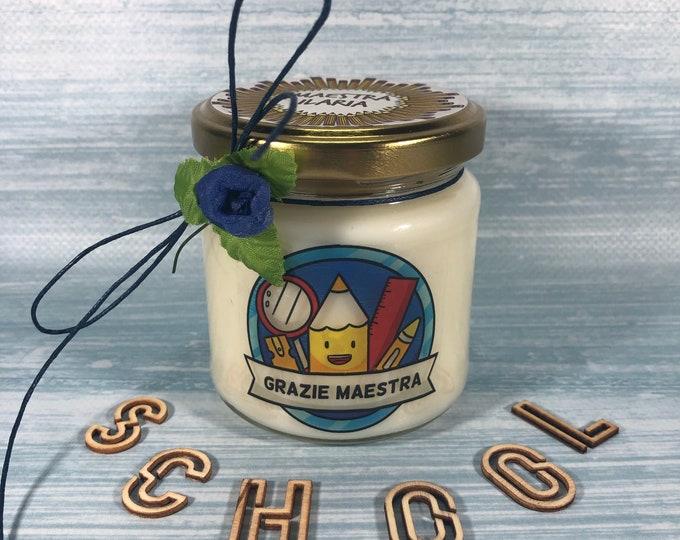 Grazie Maestra Candela profumatissima in cera di soia e olio essenziale Idea regalo per la Maestra Fine anno scolastico Ritorno a scuola