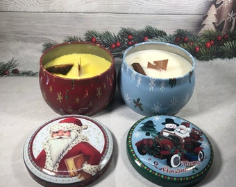 2 candele in vasetto di alluminio con decorazione a tema natalizio, all'arancio e cannella, in cera di soia oli essenziali stoppino in legno