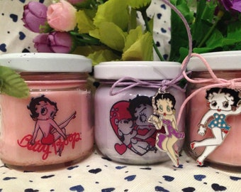 Betty Boop 2 vasetti con candele di cera di soia e oli essenziali - Idea Regalo originale Cartoon Pinup