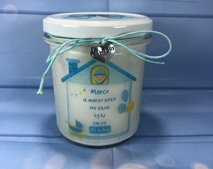Candela ricordo di nascita in cera di soia con nome e dati del nascituro maschio o femmina regalo per nascita o battesimo quadretto nascita