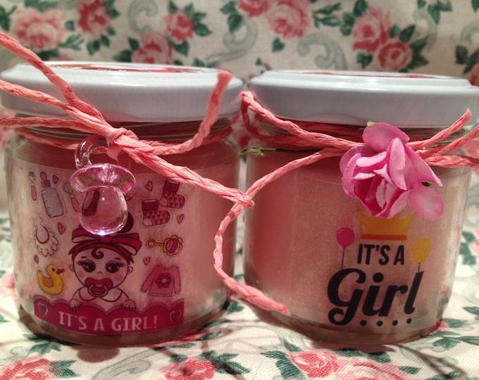 Auguri Nascita o Battesimo Femmina 2 vasetti con candele di cera di soia e oli essenziali Baby Shower Decorazione Idea Regalo per la Mamma