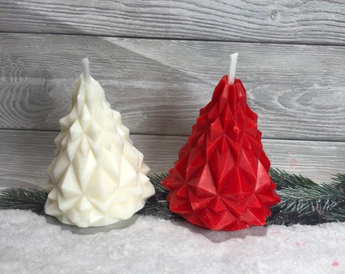 2 candele alberelli di Natale in cera di soia per segnaposto decorazione tavola regalino natalizio regalo di Natale