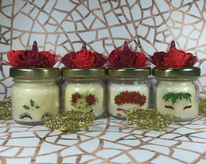 4 mini candele natalizie unicorno in cera di soia oli essenziali segnaposto natalizio bomboniera regalo Natale ricordo invitati decorazione