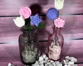 3 fiorellini in cera di soia ai profumi di rosa, lavanda e gelsomino con gambo idea regalo festa della mamma tart per bruciaessenza