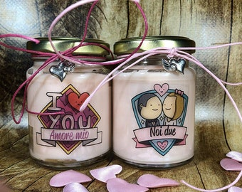 Con te per sempre Ti amo Frasi d'Amore 2 vasetti con candele in due misure a scelta di cera di soia Anniversario Fidanzamento