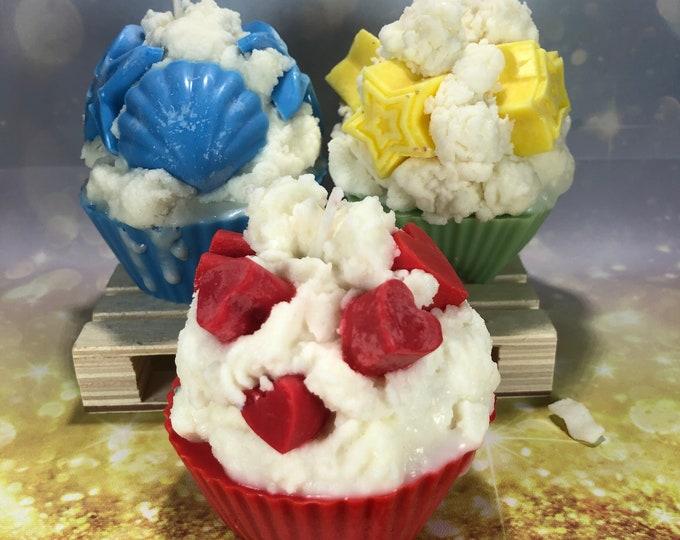 Cupcake profumato Candela in cera di soia e oli essenziali fatta a mano con cuori stelle o conchiglie idea regalo san valentino festa mamma