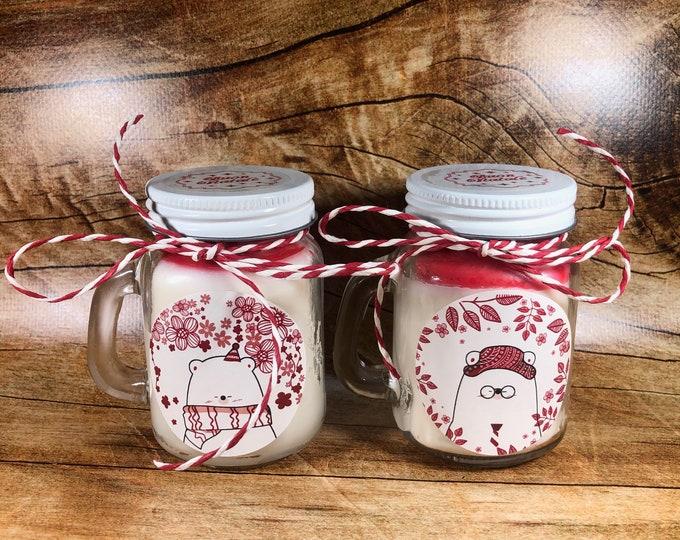 2 candele natalizie in vasetti con manico in cera di soia e oli essenziali profumi speziati natalizi decorazione casa