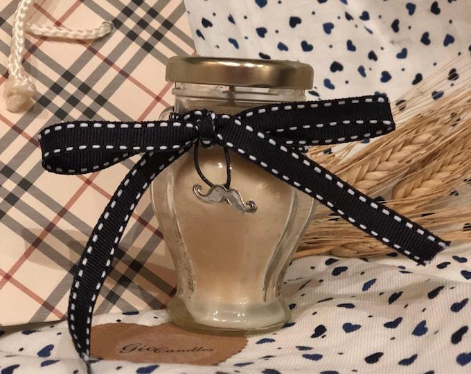 Ti voglio bene Papà piccola giara con candela - aroma e ciondolo decorativo a scelta in cera di soia e oli essenziali  Regalo Festa del Papà