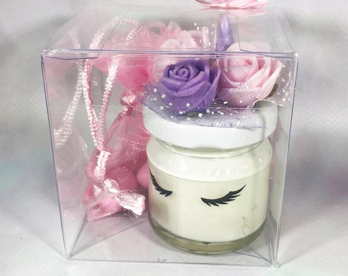 12 mini candele unicorno in cera di soia e oli essenziali bomboniera battesimo o nascita femmina