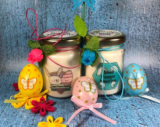 Buona Pasqua Maestra 2 vasetti con candele di cera di soia e oli essenziali - Regalo pasquale per la Maestra Regalo di Pasqua Auguri Maestra