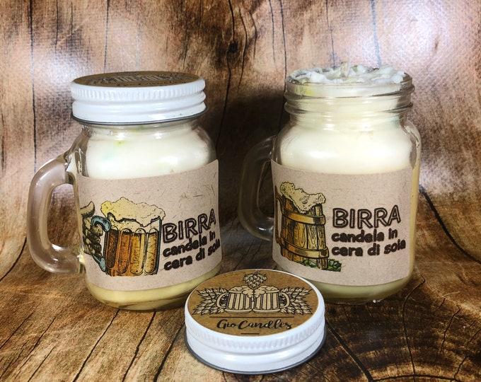 2 candele in vasetti con manico finta birra in cera di soia e oli essenziali spumeggiante profumata allo zucchero filato