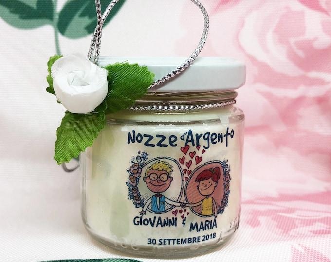 Bomboniera o sacchetto Nozze d'argento, 25 vasetti confezionati con candele di cera di soia e oli essenziali, 25 anni di matrimonio