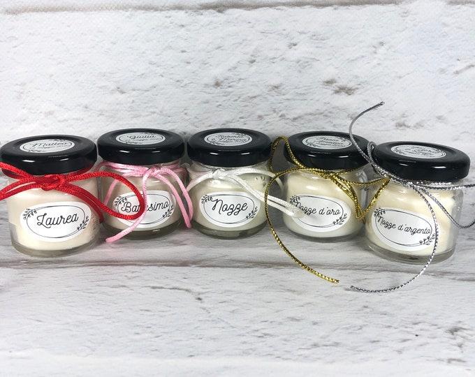 Segnaposto Bomboniera minimalista 20 mini candele personalizzate Matrimonio Battesimo Comunione Cresima Laurea Nozze d'oro Nozze d'argento