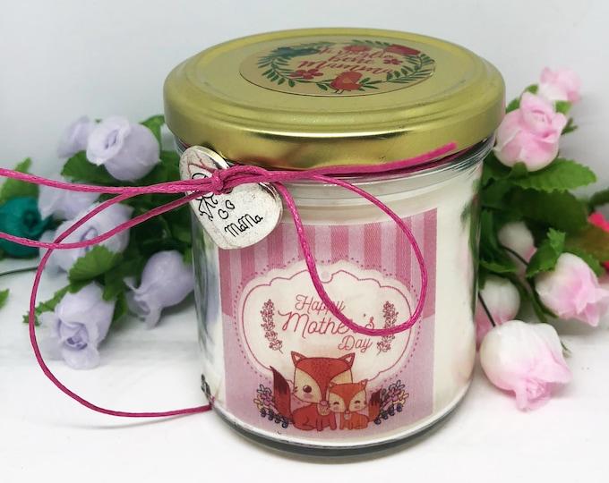 Ti voglio bene Mamma Vasetto con candela con disegno di cuccioli, cera di soia, oli essenziali, regalo per la Mamma Festa della Mamma