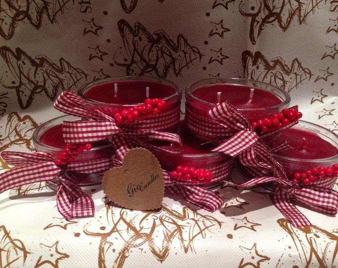 3 Vasetti con candele rosse natalizie profumate a due stoppini – Idea regalo o decorazione Natale