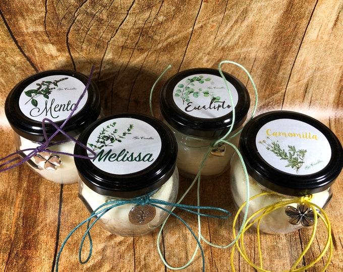 4 candele in piccoli orci da 106 ml ai profumi di camomilla, melissa, menta e eucalipto in cera di soia oli essenziali e erbe essiccate
