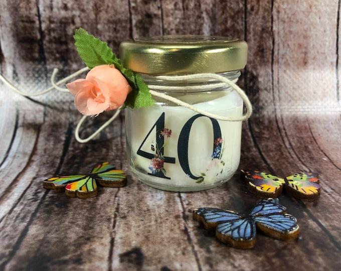 10 mini candele regali fine festa o segnaposto personalizzato compleanno (adulti) in cera di soia e oli essenziali