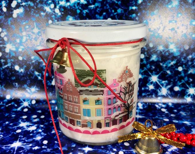 Paesaggio invernale natalizio Vasetto gigante con candela con disegno a scelta aroma speciale ciondolo a tema natalizio in cera soia