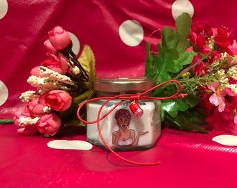 Vasetto ispirato alla Pop-Art con candela in cera di soia e oli essenziali e stoppino in legno idea regalo compleanno anniversario amore