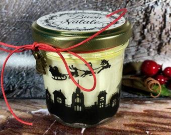 Buon Natale Vasetto con candela con silhouette aroma ciondolo a scelta in cera di soia oli essenziali stoppino in legno regalo decorazione