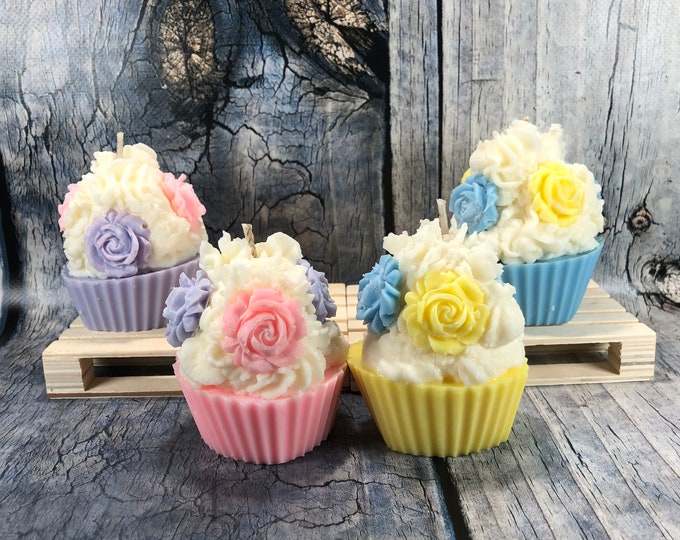 Cupcake profumati Candele in cera di soia e oli essenziali bomboniere segnaposto nascita battesimo cresima comunione matrimonio confezionate