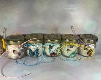 5 mini candele segnaposto farfalle con tappo personalizzato Matrimoni Comunioni Battesimi Compleanni Anniversari Country Shabby Chic