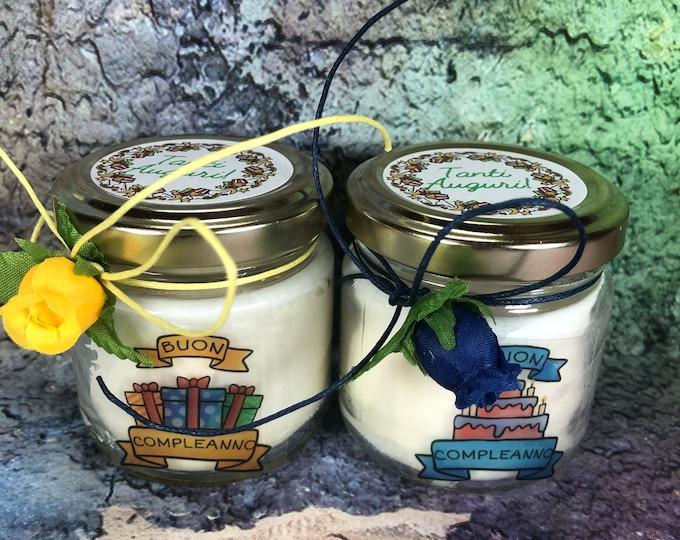 Auguri Buon Compleanno 2 vasetti con candele di cera di soia e oli essenziali regalo di compleanno tanti auguri
