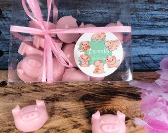 16 cialdine per bruciaessenze a forma di maialino in cera di soia e oli essenziali in scatola trasparente confezionata idea regalo tart