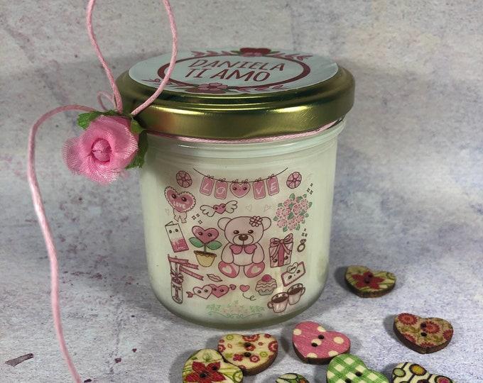 San Valentino Candela in cera di soia personalizzata idea regalo per fidanzata moglie compagna Anniversario Fidanzamento ti amo