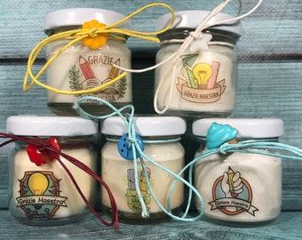 Grazie Maestra 5 mini candele profumi misti in vasetto con tappo personalizzato Piccolo omaggio per la Maestra fine anno scolastico