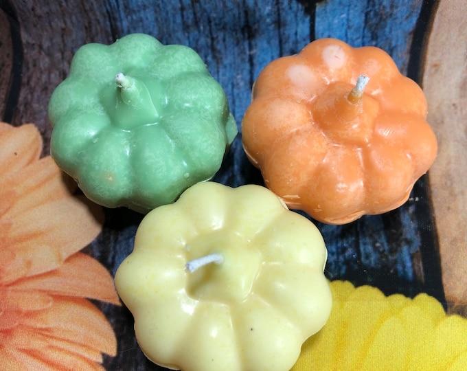 3 candeline piccole zucche di Halloween in cera di soia per segnaposto decorazione tavola regalino fine festa