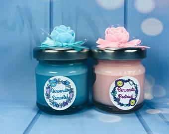 10 mini candele ricordino fine festa del nascituro baby shower regalino nascita futura mamma nuova nascita in cera di soia e oli essenziali