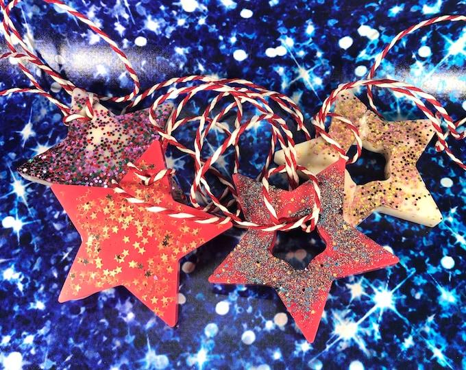 4 decorazioni natalizie glitterate profumate per albero e casa in cera di soia oli essenziali profumo di albero di natale a forma di stella