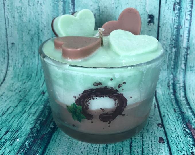 Cioccolato e Menta Candela in cera di soia e oli essenziali Coppa di gelato profumatissima idea regalo originale fatta a mano
