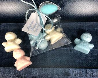 30 confezioni con 2 angioletti in cera di soia in scatolina con tag e confetto segnaposto bomboniera battesimo comunione cresima matrimonio