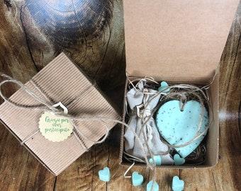 10 Profumatori ecologici a forma di cuore in cera di soia oli essenziali alla menta in scatola e confetti bomboniera matrimonio comunione