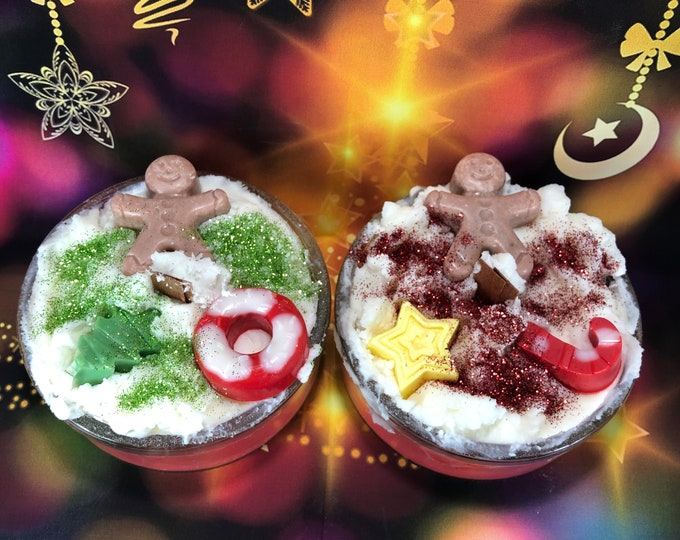 2 candele ai profumi speziati natalizi in cera di soia e olio essenziale con glitter e decorazioni in cera stoppino in legno regalo natale