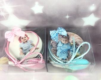 10 candeline profumate con foto, bomboniere confezionate con confetto in scatoline per nascita battesimo fine festa baby shower segnaposto