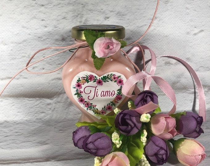 Vasetto a forma di cuore con candela con scritta Ti Amo San Valentino Anniversario Fidanzamento Proposta di Matrimonio Regalo Ti voglio bene