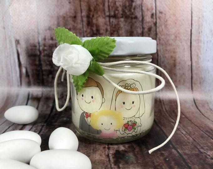 Matrimonio con bimba o bimbo Bomboniera, Sacchetto o Segnaposto 25 vasetti confezionati con candele di cera di soia Nozze coppie con bambini