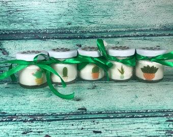Piante grasse Succulente 5 mini candele profumate con tappo personalizzato Segnaposto matrimonio comunione battesimo regali fine festa