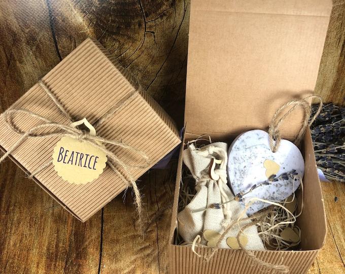 10 Profumatori ecologici a forma di cuore in cera di soia oli essenziali alla lavanda in scatola e confetti bomboniera matrimonio comunione