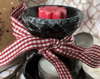 20 tartine per bruciaessenza ai profumi natalizi + 1 bruciaessenze + scorta tealight in scatola natalizia augurale Idea Regalo di Natale