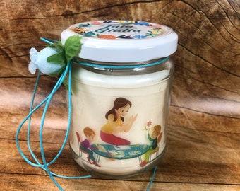 Ti voglio bene Tata candela personalizzata in cera soia olio essenziale stoppino in legno idea regalo Babysitter compleanno ringraziamento