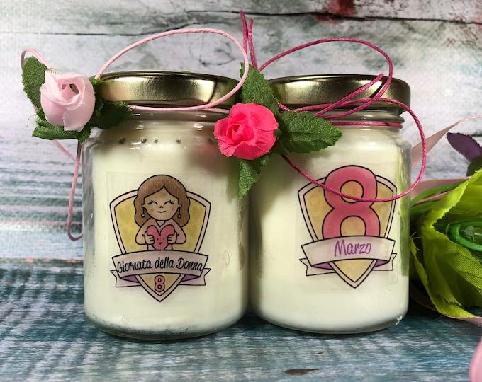 Giornata della Donna 2 vasetti con candele di cera di soia e oli essenziali - Regalo per le donne 8 marzo Dono commemorativo