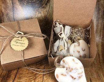 10 Profumatori ecologici a forma di cuore in cera di soia ai fiori d'arancio in scatola con confetti bomboniera matrimonio comunione